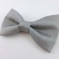 Silver bow tie - pre tied clip on bow ties for men - dupioni silk bowtie