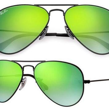 MDIGONT Ray Ban Aviator RB3025 Sunglasses 002/4j Black with Green Flash Gradient Lens