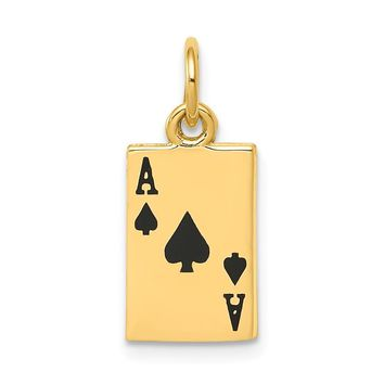 14K Yellow Gold Enameled Ace of Spades Card Charm