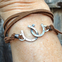 Double Horseshoe wrap bracelet  - Cowgirl jewelry