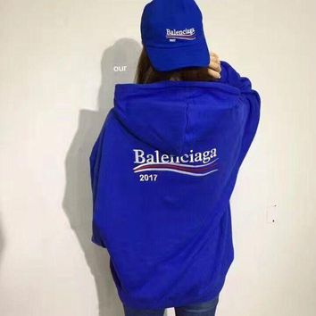 Balenciaga Fashhion Casual Long Sleeve Sport Loose Hooded Top Sweater Hoodie Sweatshir