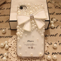 Handmade  Fashion Phone case cover for New Apple iphone 5  Charms Blingbling Pearl Gilding Bowknot