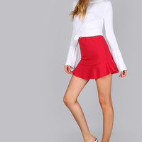Ruffle Trim Mini Skirt RED | MakeMeChic.COM