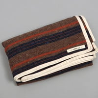 the hill side - wool blend stripe throw blanket brown   navy   orange hickorees exclusive