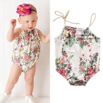USStock Newborn Baby Girl Floral Romper Bodysuit Jumpsuit Outfit Sunsuit Clothes