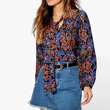 Muriel Woven Tie Neck Printed Blouse | Boohoo
