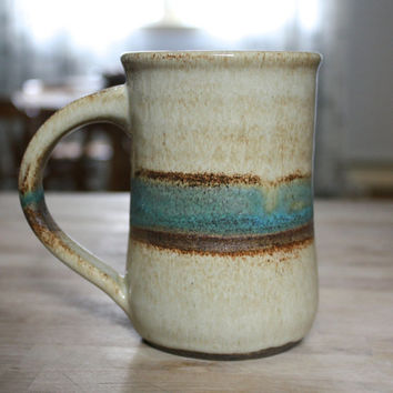 Large Handmade Ceramic Coffee Mug- Tan with Turquoise Blue Stripe- Pottery Mug- Cup- Tulip Shape- Colorful Pottery- Earth Tone
