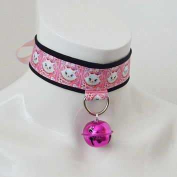 Kitten play bdsm collar - Kitty cat - black white and pastel pink - fairy kei kawaii cute neko girl lolita choker - leash ring and big bell