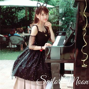 Free Shipping Sailor Moon Cat Luna Lolita Princess Dresses Cute/Beautiful Girls Summer Gold Star Mesh Dress Black/White Cat