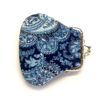 Mini Coin Purse - Fabric coin purse - Small  coin purse - Framed Clutch Purse - Silver Frame
