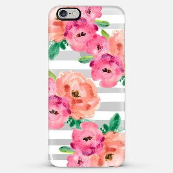 flowers and stripes- transparent iPhone 6 Plus case by Sylvia Cook | Casetify