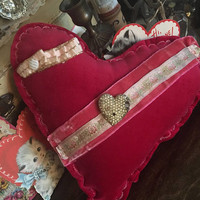 Velvet red heart Valentines Day pillow/ Valentines Decor/ red hearts