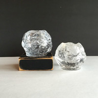 Pair of Vintage Kosta Boda Style Snowball Votive Candle Holders