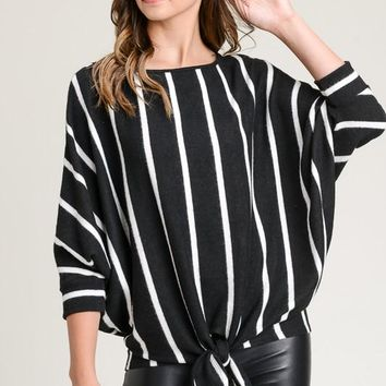 Striped Hacci Top with Dolman Steeves - Black/Ivory