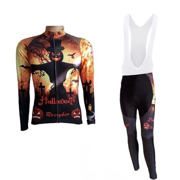 Roscyker winter thermal fleece Halloween days cycling jersey kits race bicycle warmer Ropa Ciclismo bike clothing maillot R0-7