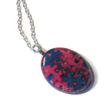 Autism Awareness Puzzle Piece Resin Pendant Necklace, Autism Jewelry, Pink and Blue