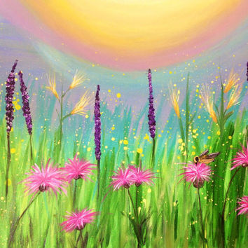 Field or Meadow of Wildflowers and Bumblebee Fine Art Print on Canvas 18 x 22.  Print of original painting by JP Morris