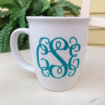 Unique coffee mug, monogrammed mug, ceramic coffee mug, tea mug, personalized mug, customized mug, birthday gift, coffee lover