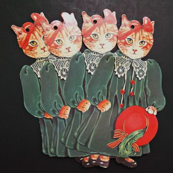 Vintage 1984 Gift Tags Lady Cats Red Hat Bow Ribbons Green Die Cuts