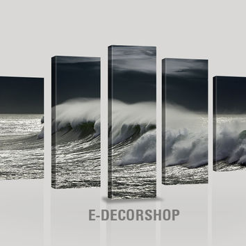 CANVAS ART  - Waves and Ocean Strom Canvas Print - Great Home and Wall Decoration Accessory Wall Art Print