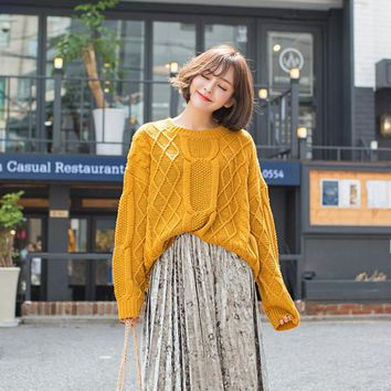 Autumn Winter New Style Loose  Jacquard weave Pullover Knitted Sweater Solid Color All Matched Long Sleeve Jumper