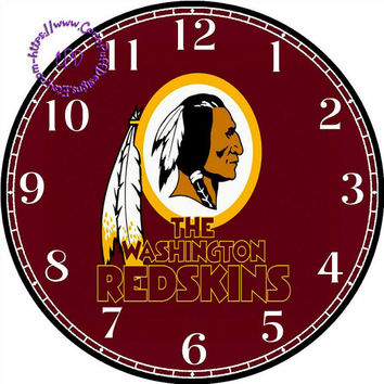 """Washington Redskins Sports Team Art - -DIY Digital Collage - 12.5"""" DIA for 12"""" Clock Face Art - Crafts Projects"""