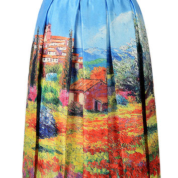 Blue 3D Oil Painting Print Skirt
