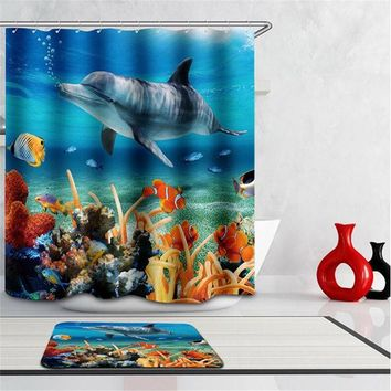 DCCKL72 Boutique High Quality Modern Waterproof shower 3D Underwater world Shower Curtain Bathroom Curtain fish curtains for bath room