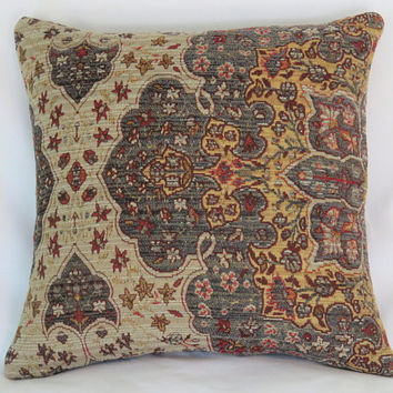 "Blue Gold Red Pillow Cover, 17"" Sq. Carpet Style Chenille Tapestry, Medallion, Beige, Cranberry, Denim, Vintage Look"