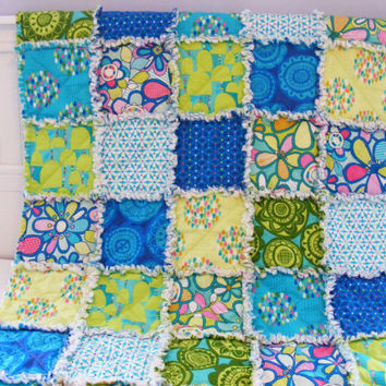 Baby Rag Quilt, Crib Quilt, Toddler Quilt, Nursery Blanket, Summersault , 35 X 48. Blue, Green, Yellow, Handmade, Ready to Ship