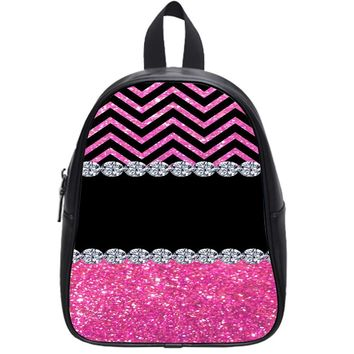 Monogram Chevron Bling Pink School Backpack Small