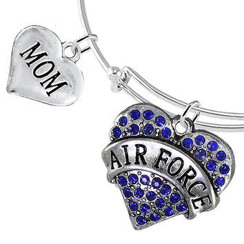 Air Force Mom Heart Charm Bracelets