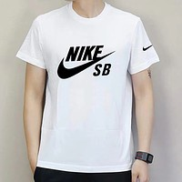 NIKE Summer Fashion Men Casual Print Round Collar Sport T-Shirt Top White
