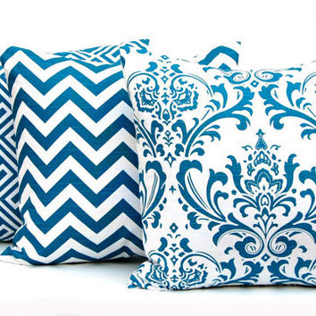 Euro Shams Decorative Pillows THREE 24 x 24 Throw Pillows Aquarius Blue Deep Turquoise on White Slub Zig Zag by Premier Prints