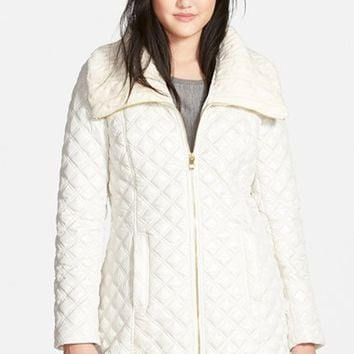 Women's Via Spiga Knit Collar Quilted Front Zip Coat,