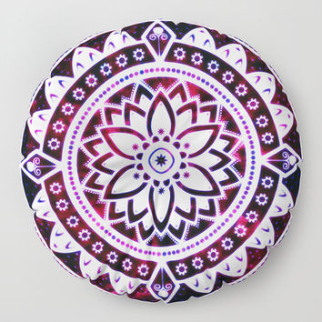 Glowing Flower Mandala Red White Pink Blue Floor Pillow by inspiredimages