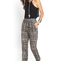 FOREVER 21 Tribal-Inspired Woven Joggers Black/Taupe