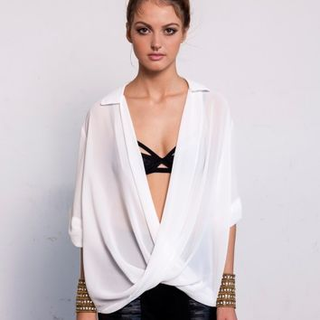 CROSSOVER HI-LO CUFFED SLEEVE BLOUSE - WHITE