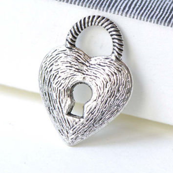 Antique Silver Heart Lock Charms Double Sided 16x22mm Set of 10 A8172