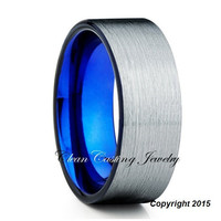 Blue Tungsten Ring, Tungsten Wedding Band, Blue Tungsten Carbide Ring, Men's Tungsten Wedding Band, Comfort Fit, Brushed Finish, Custom Size
