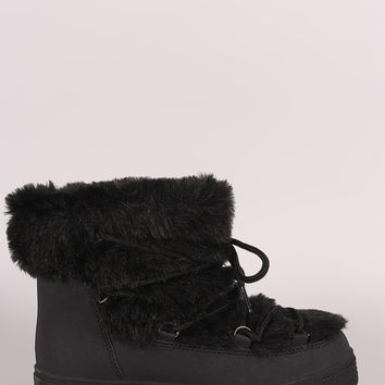 Faux Fur Trim Lace Up Winter Boots