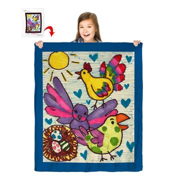 """Turn Your Child's Drawing into a 50"""" x 60"""" Plush Fleece Blanket"""