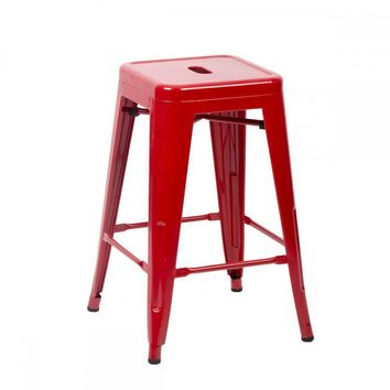 New 24''/30'' Red Metal Frame Tolix Style Bar Stools Industrial Chair,Set of 4