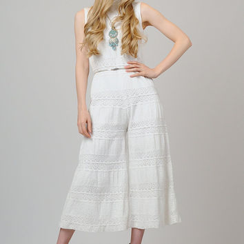 vintage 70s CROCHET white Palazzo Hippie by TinRoofVintage on Etsy
