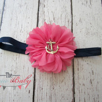 Hot Pink & Navy Blue Anchor Headband -  Nautical - Newborn Infant Baby Toddler Girls Adult
