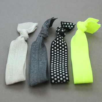 Elastic Hair Ties : Set of 4 Elastic Ribbon Hair Ties, Ponytail, Bun, Top Knot, Bracelet, 90s, Neon Yellow Green, Black and White, Polka Dot