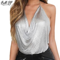 2017 Sexy Aluminum Metal Chain Bralette Crop Top Women Summer Strapless Tops Beach Party Club Wear Gold Sequins Tank Top