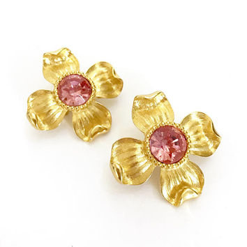 Trifari TM Dogwood Earrings, Clip-On Earrings, Pink Chaton Rhinestones, Textured Gold Tone, Dimensional Flowers, Vintage Statement Earrings