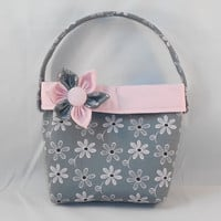 Little Girls' Pink and Gray Purse With Detachable Fabric Flower Pin