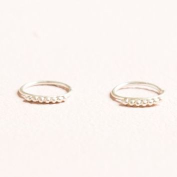 SILVER 7 STUD HOOP EARRINGS